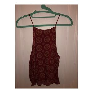 Brandy red and tan patterned tank